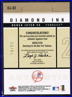2003 Fleer Patchworks Diamond Ink Derek Jeter Auto Red Ink 14/50