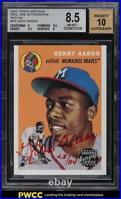 2003 Topps Heritage Real One Red Ink Hank Aaron AUTO /54 #HA BGS 8.5 NM-MT+