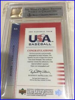 2003 Upper Deck USA Red Ink AUTO /750 Justin Verlander BGS 9 PRE-RC AUTO 10