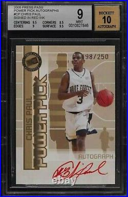 2005 Press Pass Power Pick Red Ink Chris Paul ROOKIE RC AUTO /250 #CP BGS 9 MINT