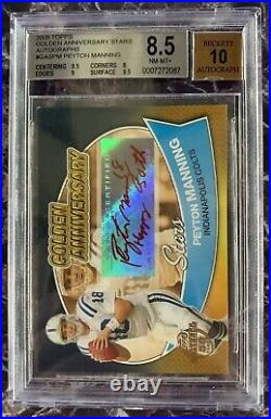2005 Topps Golden Anniversary Peyton Manning RED INK AUTO /5 Happy 50th BGS 8.5