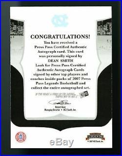 2007 Dean Smith Press Pass Legends RED INK Auto /23 UNC Tarheels HOF Signed SSP