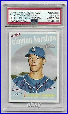 2008 Topps Heritage Clayton Kershaw Red Ink Auto #05/59 Graded Super Rare
