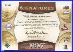 2009 Yadier Molina Upper Deck Sweet Spot AUTO SIGNATURES RED INK 11/35 Cardinals