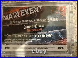 2010 Topps UFC Main Event Royce Gracie Auto #'d 13/15 Red Ink