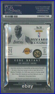 2013-14 Panini Signatures Dynamic Ink Red KOBE BRYANT Lakers HOF AUTO 3/10 PSA 9