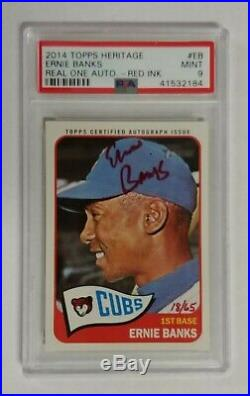 2014 Topps Heritage 1965 Real One Autographs RED INK Ernie Banks Auto #/65 PSA 9
