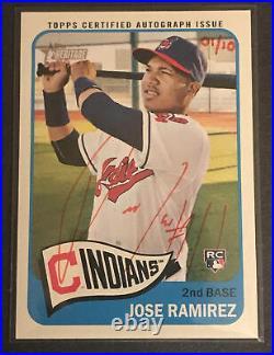 2014 Topps Heritage Jose Ramirez Rc Auto Red Ink 1/10 Rare Cleveland Indians