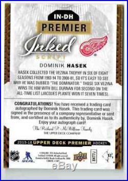 2015-16 Upper Deck Premier Inked Script Dominik Hasek Auto 10/25 Detroit Red