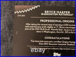 2015 Bowman INCEPTION ORIGINS SILVER Ink Red 2/5 Bryce Harper AUTO