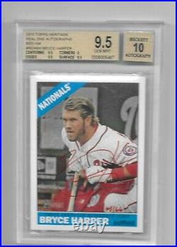 2015 Topps Heritage Bryce Harper Auto Red Ink #/66 BGS 9.5