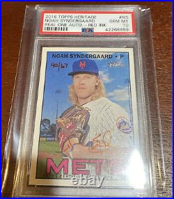 2015 Topps Heritage Noah Syndergaard Real One Red Ink AUTO RC #40/ 67 PSA Gem 10