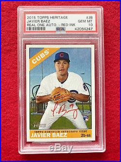 2015 Topps Heritage Real One Auto Red Ink ERROR Javier Baez RC PSA 10 Gem Mint
