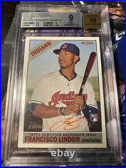 2015 Topps Heritage Real Ones Auto Francisco Lindor Rc Red Ink /66 BGS 9/10 Ssp