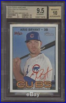 2016 Topps Heritage Kris Bryant Real One Red Ink Auto /67 BGS 9.5 10 Gem Mint