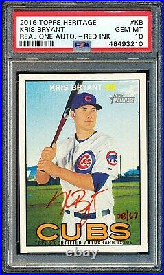2016 Topps Heritage Kris Bryant #kb Real One Red Ink Auto 8/67 Psa 10 Gem Mint