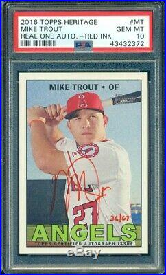 2016 Topps Heritage Mike Trout Red Ink Real Ones Auto /67 PSA 10