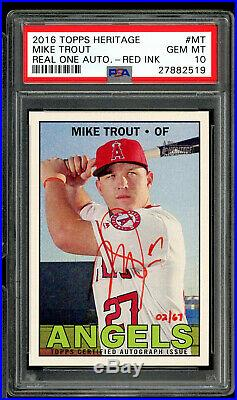 2016 Topps Heritage Real One Auto Red Ink #02/67 Mike Trout Psa 10 Autograph #mt