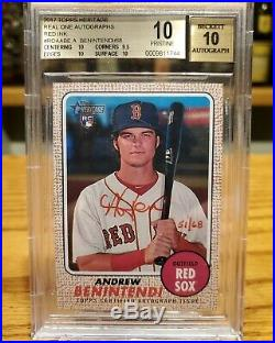 2017 Topps Heritage Andrew Benintendi Real One Red Ink RC Auto BGS 10 Pristine