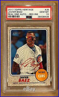 2017 Topps Heritage Javier Baez Real One Auto Autograph Red Ink. Psa 10. 25/68