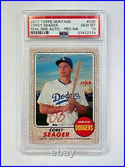 2017 Topps Heritage Real One Auto Autograph Red Ink /68 Corey Seager PSA 10
