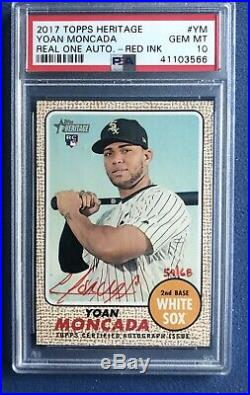2017 Topps Heritage Real One Auto Yoan Moncada Red Ink #d /68 RC PSA 10 Gem Mint