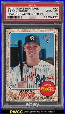 2017 Topps Heritage Real One Red Ink Aaron Judge ROOKIE RC AUTO /68 #AJ PSA 10