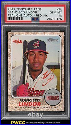 2017 Topps Heritage Real One Red Ink Francisco Lindor AUTO /68 PSA 10
