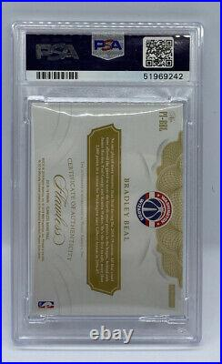 2018-19 Flawless Bradley Beal Premium Ink Ruby Red #11/15 PSA 8 ON CARD AUTO 10