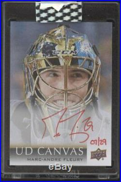 2018-19 UD Upper Deck Clear Cut Canvas Marc-Andre Fleury Red Ink Auto /29