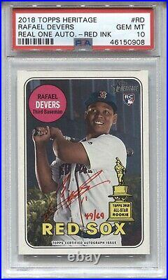 2018 Rafael Devers Topps Heritage AUTO REAL ONE RED INK ROOKIE Rc /69 PSA 10 GEM