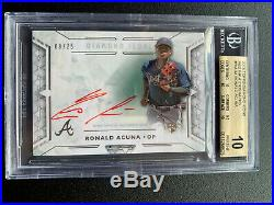 2018 Topps Diamond Icons Red Ink Ronald Acuna ROOKIE RC AUTO /25 BGS 10 Pristine