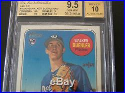 2018 Topps Heritage Baseball Walker Buehler Red Ink Auto Bgs Graded 9.5/10 Auto