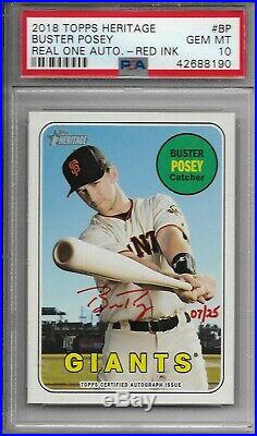 2018 Topps Heritage Buster Posey Real One Red Ink Auto 07/25 PSA 10