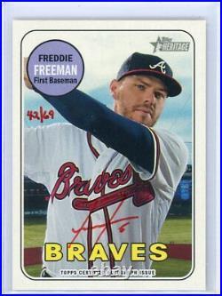 2018 Topps Heritage Freddie Freeman Red Ink Auto Autograph SSP #'d 42/69 Braves