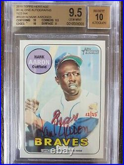 2018 Topps Heritage Hank Aaron real one auto red ink #/25, #ROA-HA, BGS 9.5 gem