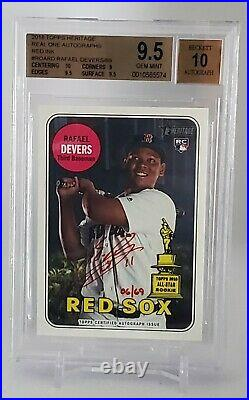 2018 Topps Heritage Rafael Devers Red Ink Auto RC /69 BGS 9.5/10 Rookie Red Sox