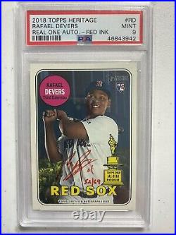 2018 Topps Heritage Real One Rafael Devers RC Rookie Red Ink AUTO PSA 9