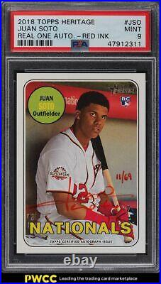 2018 Topps Heritage Real One Red Ink Juan Soto ROOKIE RC AUTO /69 PSA 9 MINT