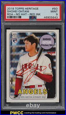 2018 Topps Heritage Real One Red Ink Shohei Ohtani ROOKIE AUTO /69 PSA 9