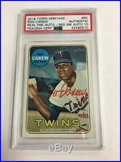 2018 Topps Heritage Rod Carew Real One Auto Red Ink #D 07/69 PSA 10 AUTOGRAPH