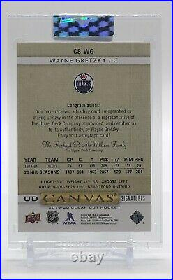 2019-20 Clear Cut Wayne Gretzky UD Canvas Auto /99 Red Ink GOAT