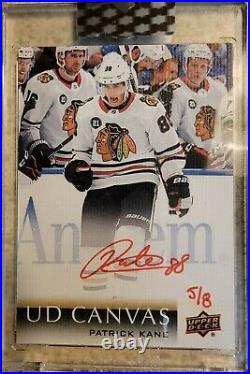 2019-20 UD Clear Cut Patrick Kane #5/8 Red Ink 18-19 Update Canvas Auto