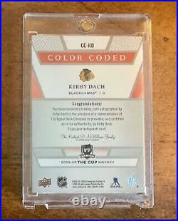2019-20 UD The Cup Color Coded Kirby Dach Red Ink Auto /33 Blackhawks RC SP