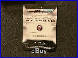 2019 Topps Diamond Icons Juan Soto Auto Red Ink #23/25 On-Card Auto Nationals