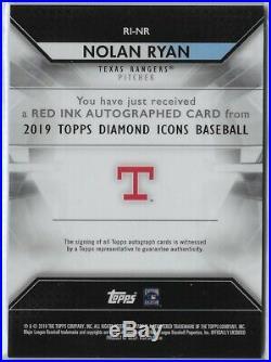 2019 Topps Diamond Icons Nolan Ryan Red Ink Auto Autograph 9/10 Texas Rangers