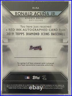2019 Topps Diamond Icons RONALD ACUNA JR. #RI-RA Red Ink AUTO SSP /25 Braves