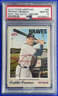 2019 Topps Heritage Freddie Freeman Real One Red Ink Auto #d /70, Braves PSA 10