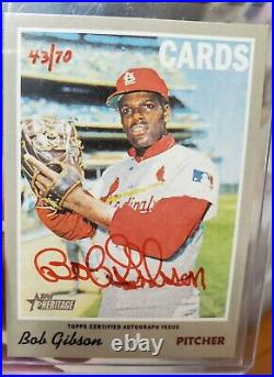 2019 Topps Heritage High Number Bob Gibson STL CARDINALS RED INK AUTO 43/70