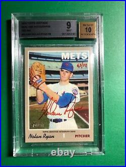 2019 Topps Heritage Nolan Ryan Real One Auto Red Ink /70 BGS 9/10 MINT HOF RARE